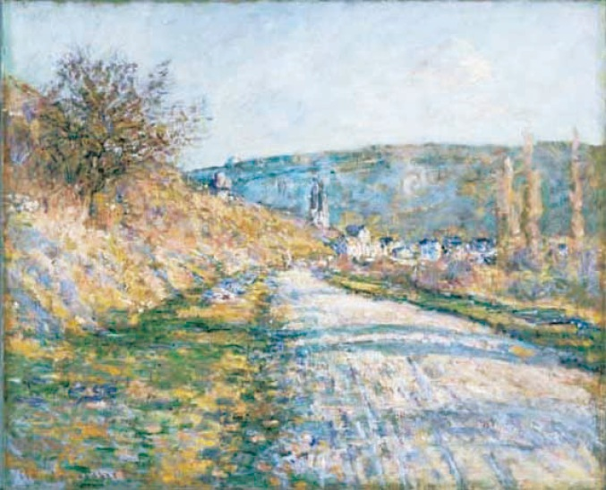 「ヴェトゥイェへの道」 Claude Monet The Road to Vétheuil, 1879 Oil on canvas; 23 3/8 x 28 5/8 in. The Phillips Collection, Washington, D.C.
