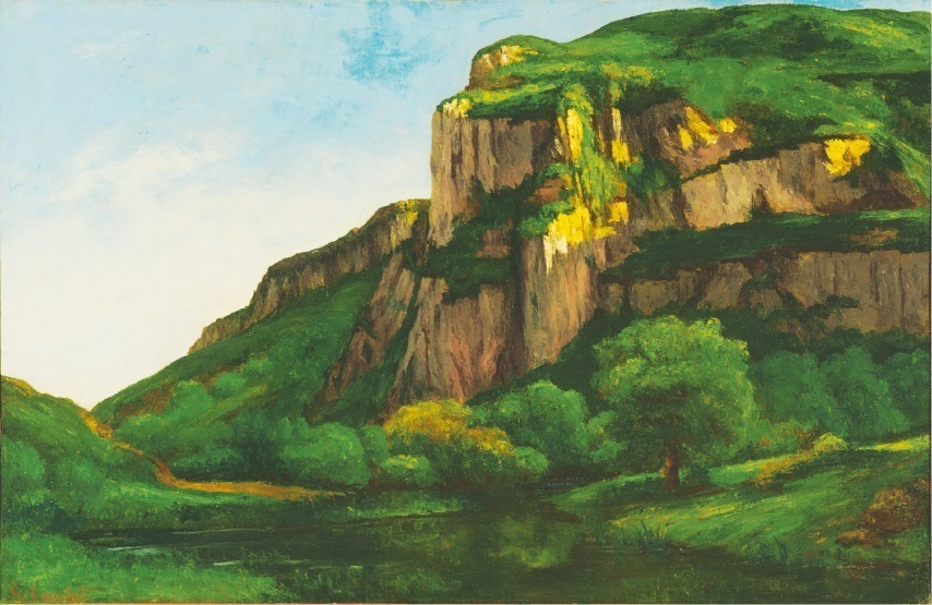 「ムーティエの岩」 Gustave Courbet (1819–77) Rocks at Mouthier, ca. 1855 Oil on canvas 29 ¾ x 46 inches Acquired 1925 The Phillips Collection, Washington, D.C.