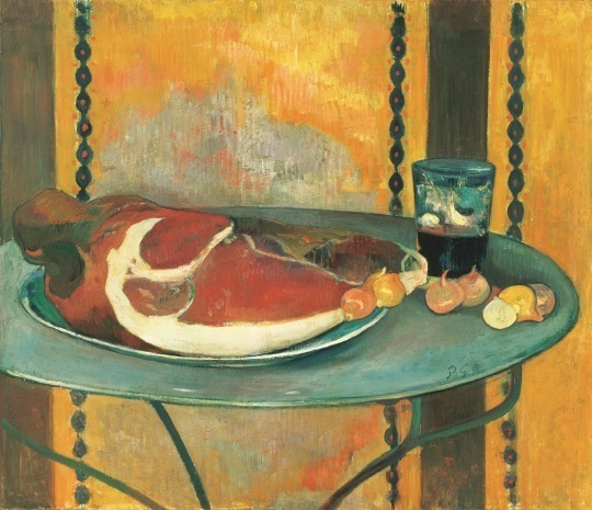 「ハム」 Paul Gauguin (1848–1903). Still Life with Ham, 1889. Oil on canvas; 19 ¾ x 7 7/8 in.  The Phillips Collection ,Washington, D.C.