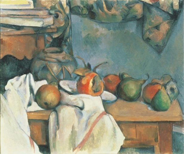 「ザクロと洋梨のあるショウガ壷」 Paul Cézanne Ginger Pot with Pomegranate and Pears, 1893 Oil on canvas; 18 1/4 x 21 7/8 in. The Phillips Collection, Washington, D.C.