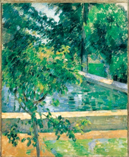 Paul Cézanne  《Le Bassin de Jas de Bouffan (The Pool at Jas de Bouffan)》 1878-1879年.  Collection of Albright-Knox Art Gallery, Buffalo, NY.